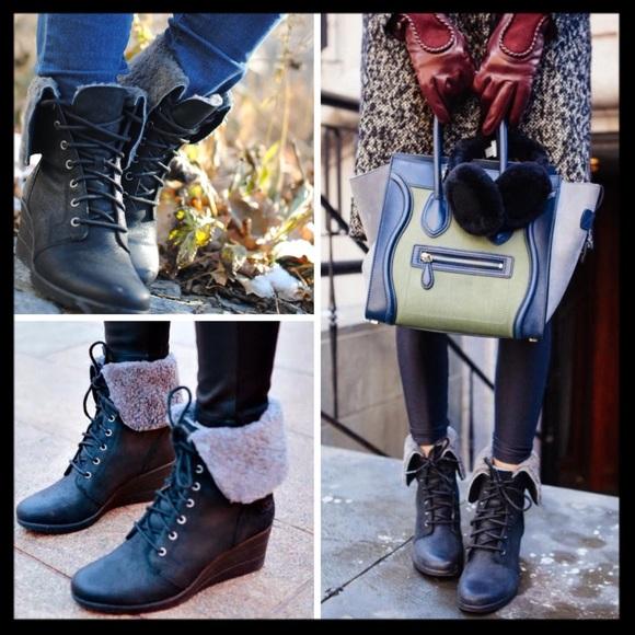 e4bf0658e2e ugg // zea waterproof shearling wedges boots black